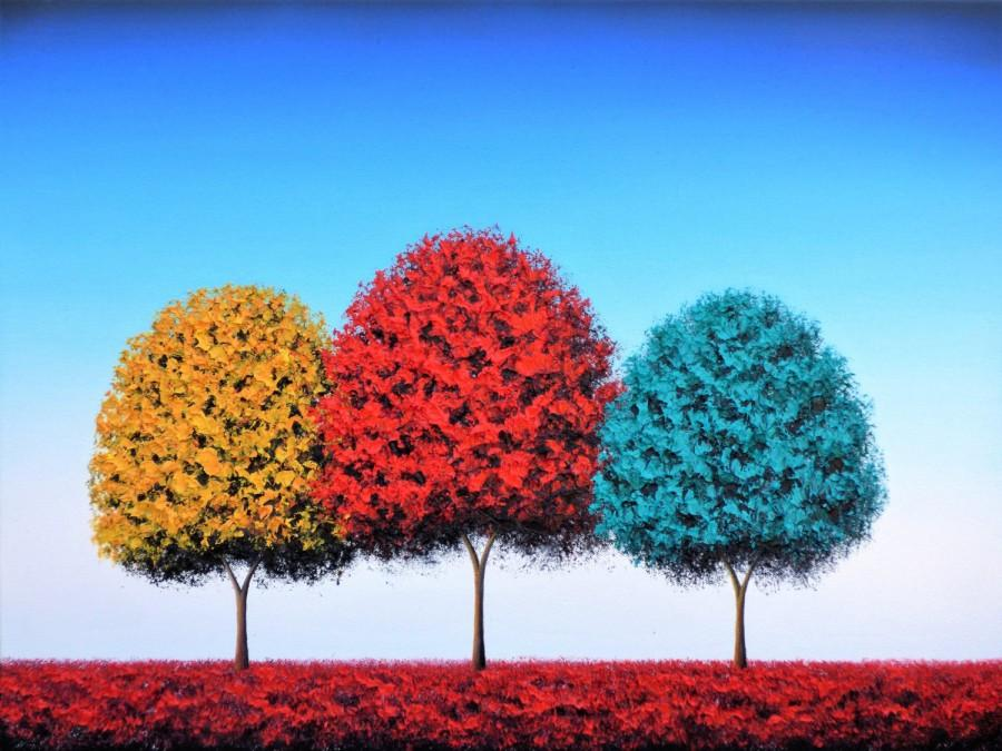 Mariage - ORIGINAL Art Colorful Landscape Painting, Contemporary Art Oil Painting, Whimsical Art, Paintings of Trees, Large Art Tree Painting, 18x24