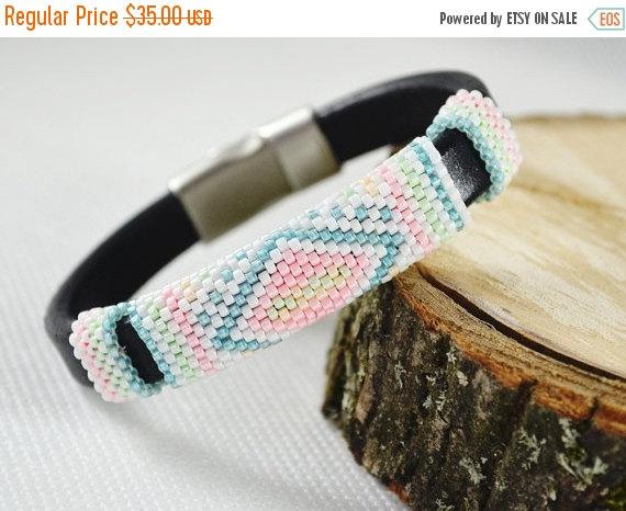 Wedding - Pastel Braided bracelet strap bracelet for women beads bracelets women pastel bracelet leather bracelet gift for her male model lea