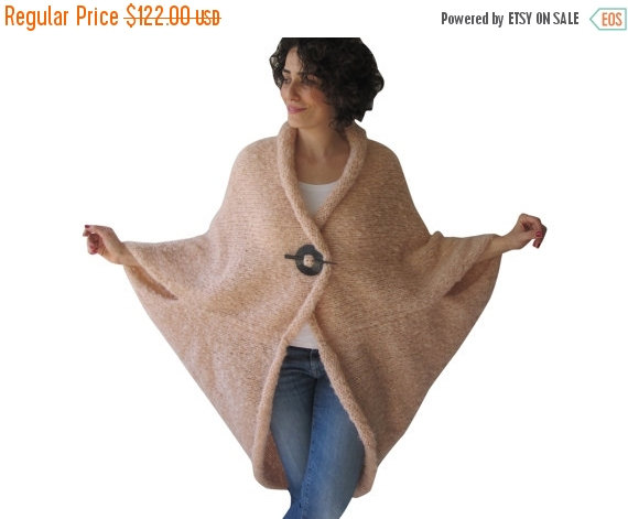 Wedding - CLEARANCE 50% Plus Size Over Size Light Pink - Salmon Wool Overcoat - Poncho - Cardigan