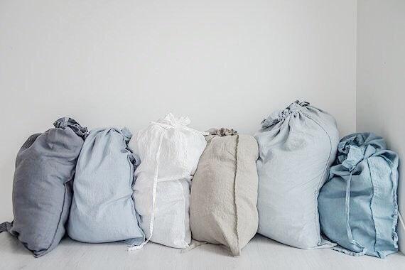 Wedding - Large washed linen laundry bag