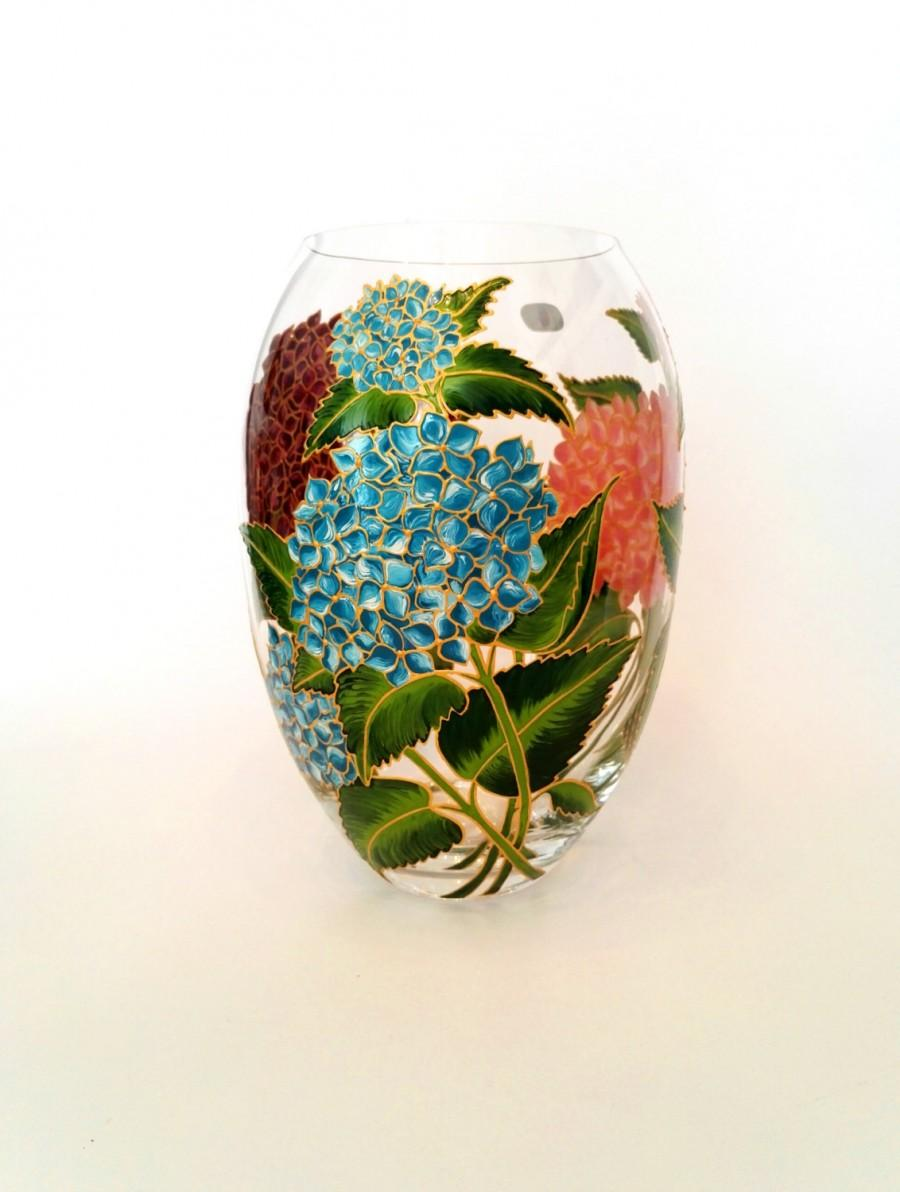 Wedding - Anniversary Gift for Her Hand Painted Flower Vase Wedding Gift Table Decoration Centerpiece Bohemia Crystal Floral House Decor Hydrangea
