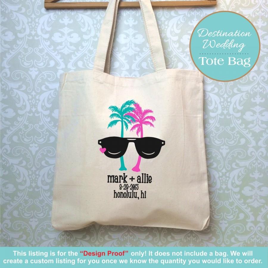 Tropical Destination Wedding Bag Design Proof Only Hawaii Welcome Favor Palm Trees Sungl