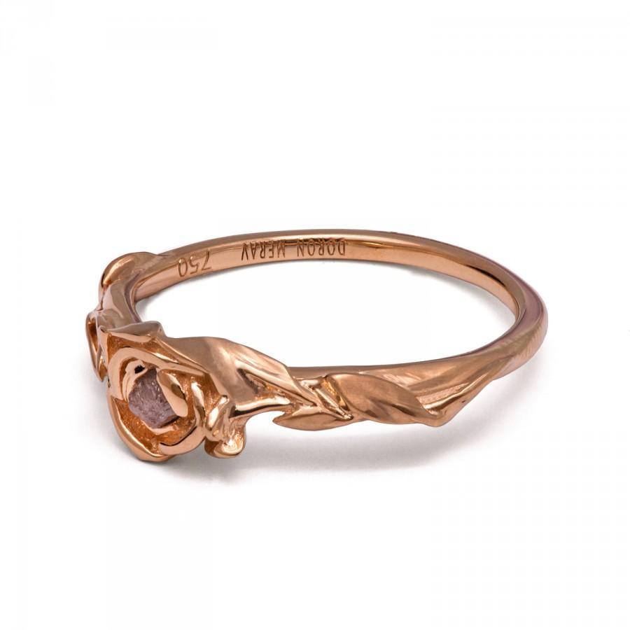 Mariage - Raw Diamond Rose Engagement Ring - 18K Rose Gold and Rough Diamond engagement ring, Unique Engagement ring, rough diamond ring,raw diamond,2