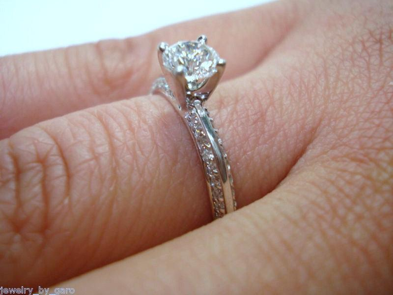 Wedding - Diamond Engagement Ring 0.73 Carat 14K White Gold Handmade Micro Pave Certified