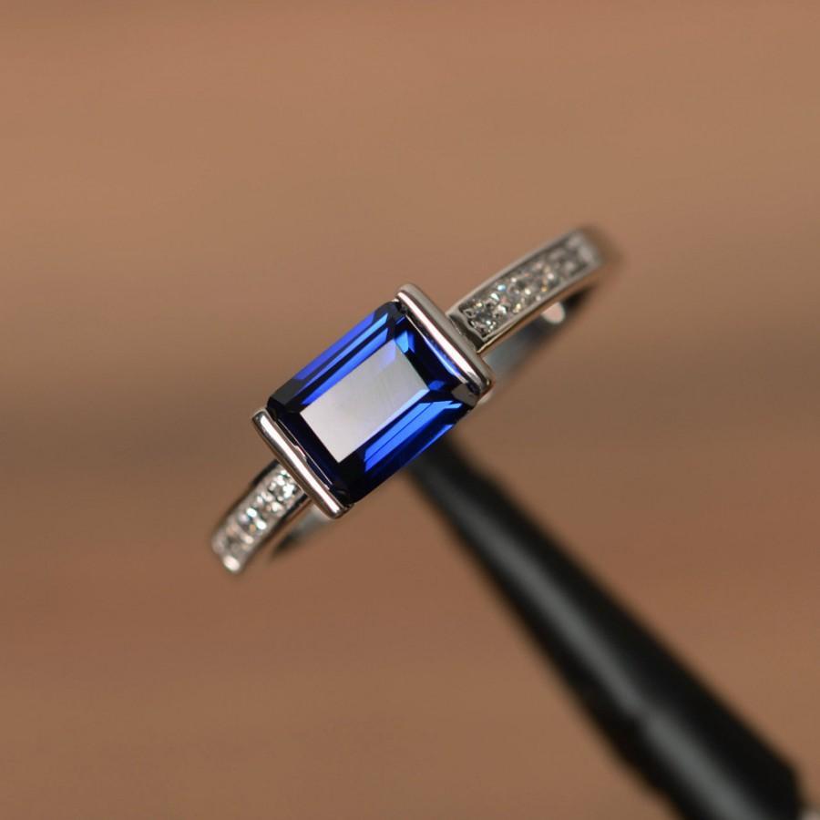 زفاف - lab sapphire ring September birthstone silver engagement ring anniversary gift for her