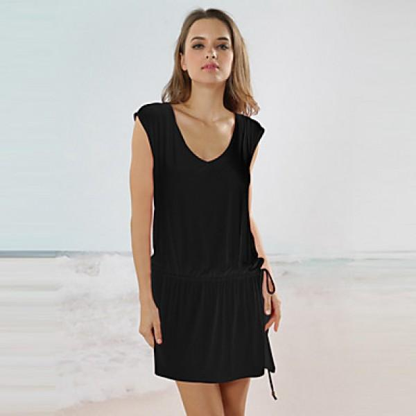Mariage - 2017 Fashion Dress Summer Women Clothing Round Neck Black Short Sleeve V Back Short Dress