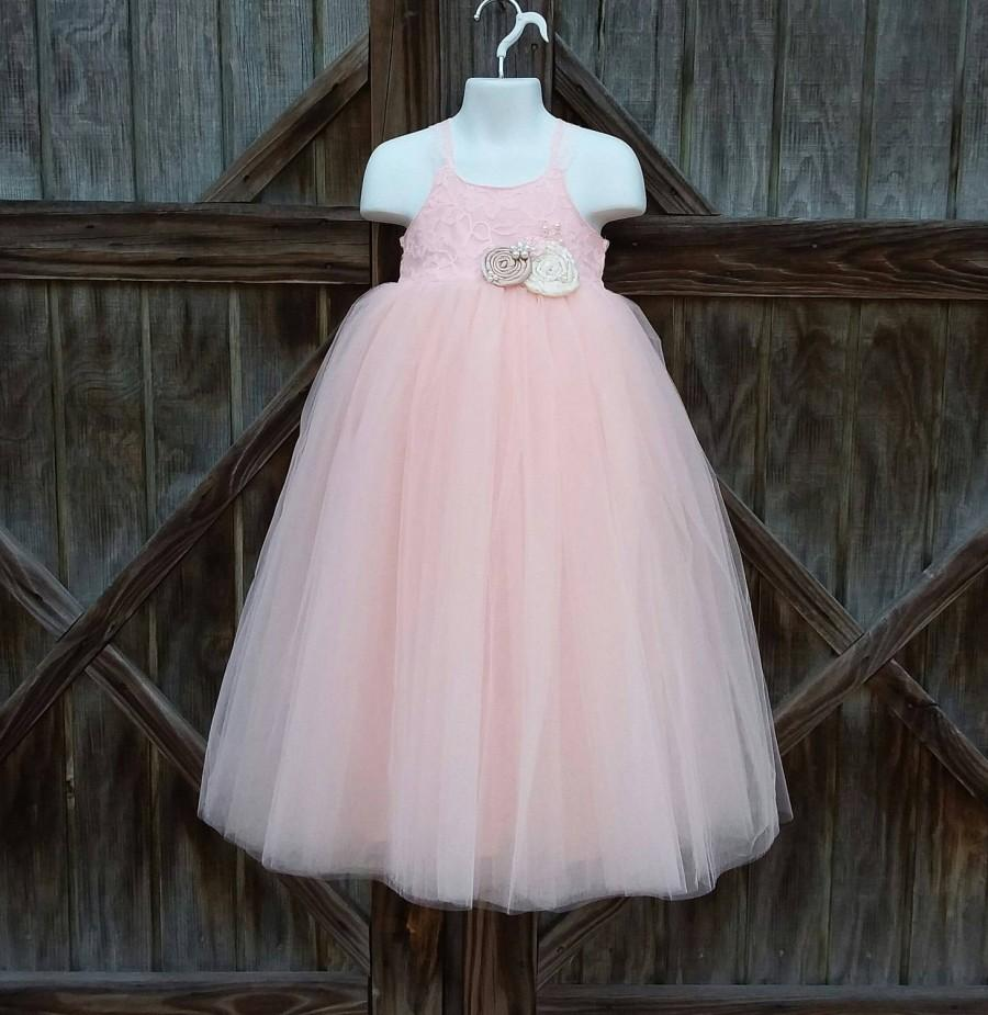 73c03ec9171b2 Free Shipping To USA Custom Made Blush Lace And Tulle Flower Girl ...