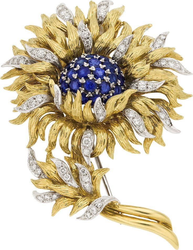 زفاف - Sapphire, Diamond, Gold Brooch, Tiffany & Co.. ... Estate