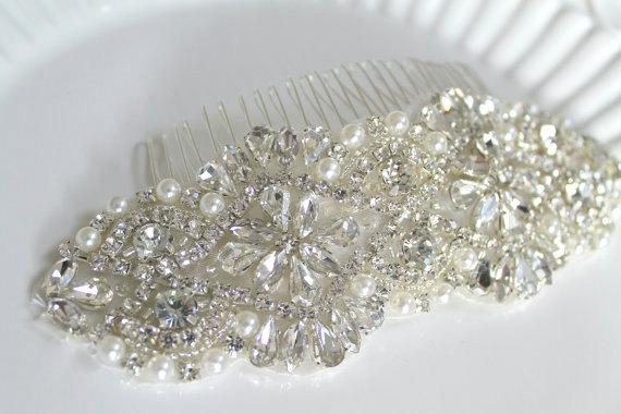 Свадьба - Ready To Ship. Bridal Beaded Pearl & Crystal Large Luxury Headpiece. Rhinestone Wedding Applique Hair Comb. DUCHESS