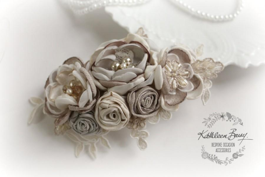Hochzeit - R720 Hairpiece bridal floral hair clip - veil wedding hair accessory - Taupe oyster and vanilla - Fascinator mother of the bride or groom