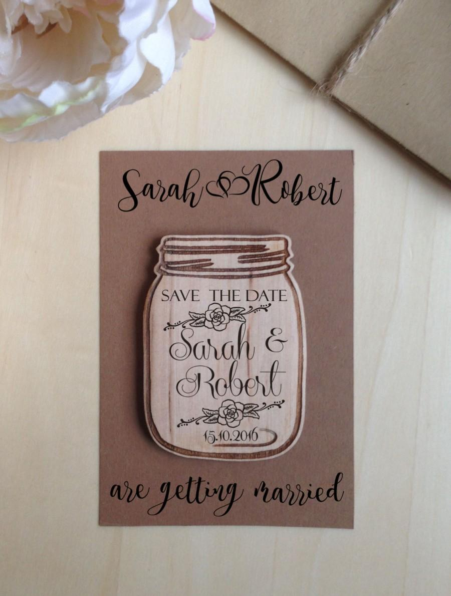 Hochzeit - Save the Date magnets Mason Jar  Wooden Engraved Save the Date Wood Mason Jar  Rustic  Save the Date  With Envelopes