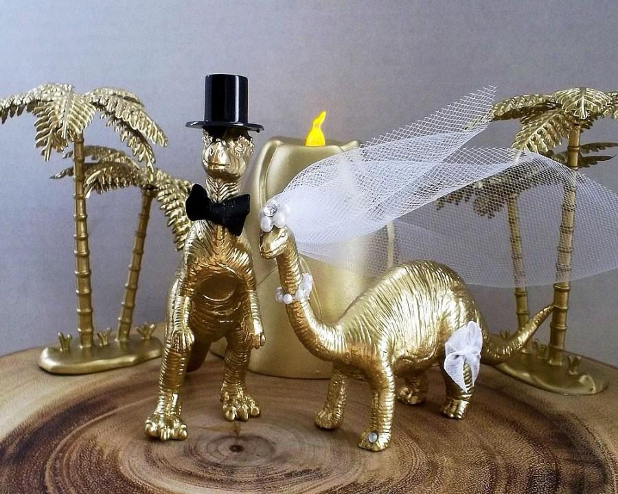 Mariage - Dinosaur Wedding Cake Topper, Dinosaur Diorama, Volcano, Palm Tree, Dinosaur, Cake Topper, Gold, Wedding, Jurassic, Diorama, Unique
