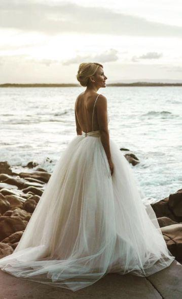 Свадьба - Spaghetti Strap Low Open Back Ballgown Wedding Dress