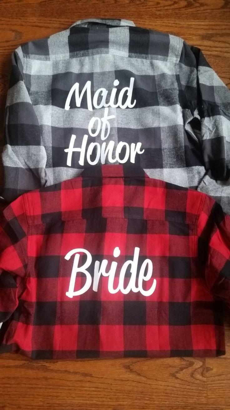 Mariage - Bridal Flannels Bridesmaid Flannels Wedding Flannels Wedding Prep Wedding Getting Ready Bachelorette Party Shirts