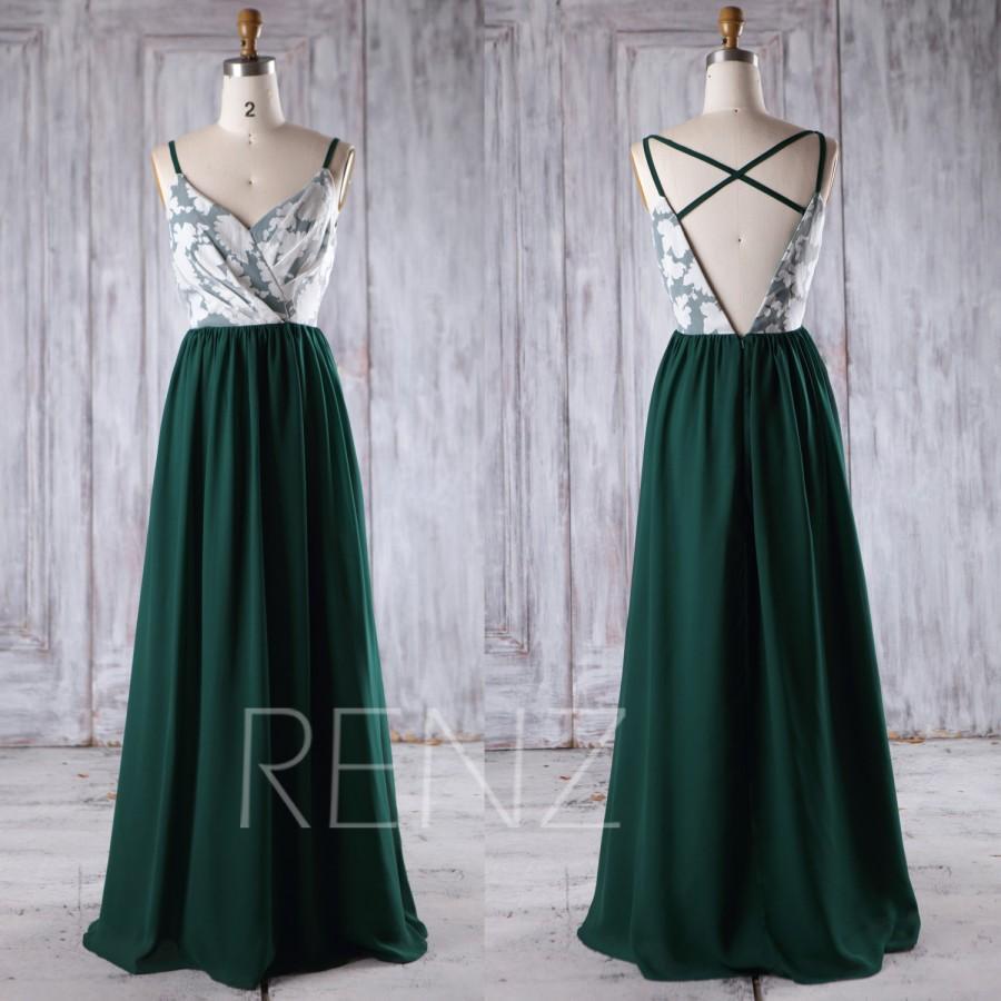 2016 Dark Green Chiffon Bridesmaid Dress Long White Lace