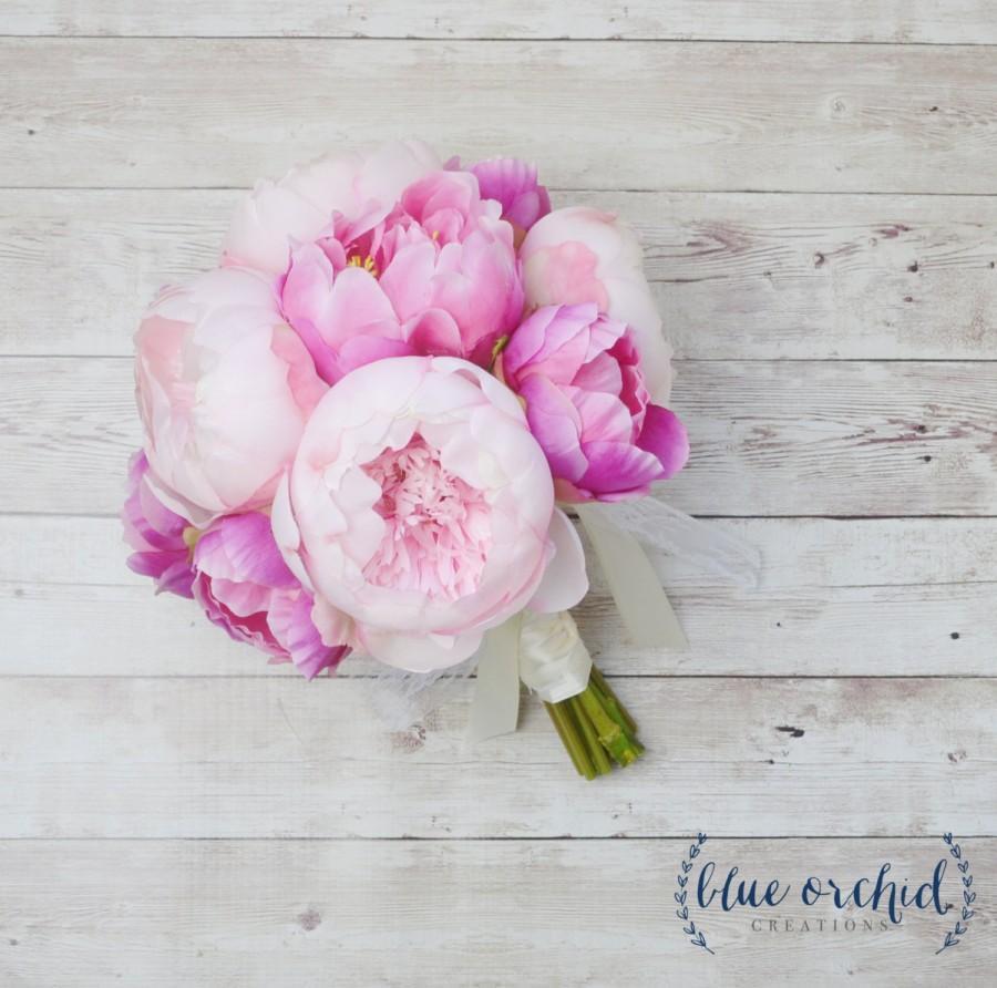 Peony Bouquet Pink Peony Bouquet Silk Peony Bouquet Peonies