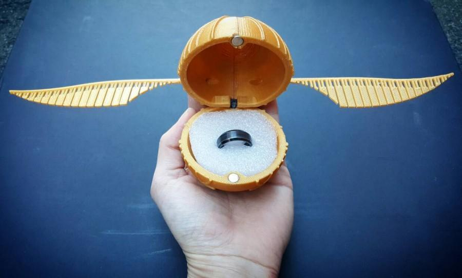 47b6b37b4fe99 Harry Potter Golden Snitch Engagement Ring Box 3D Printed #2639674 ...