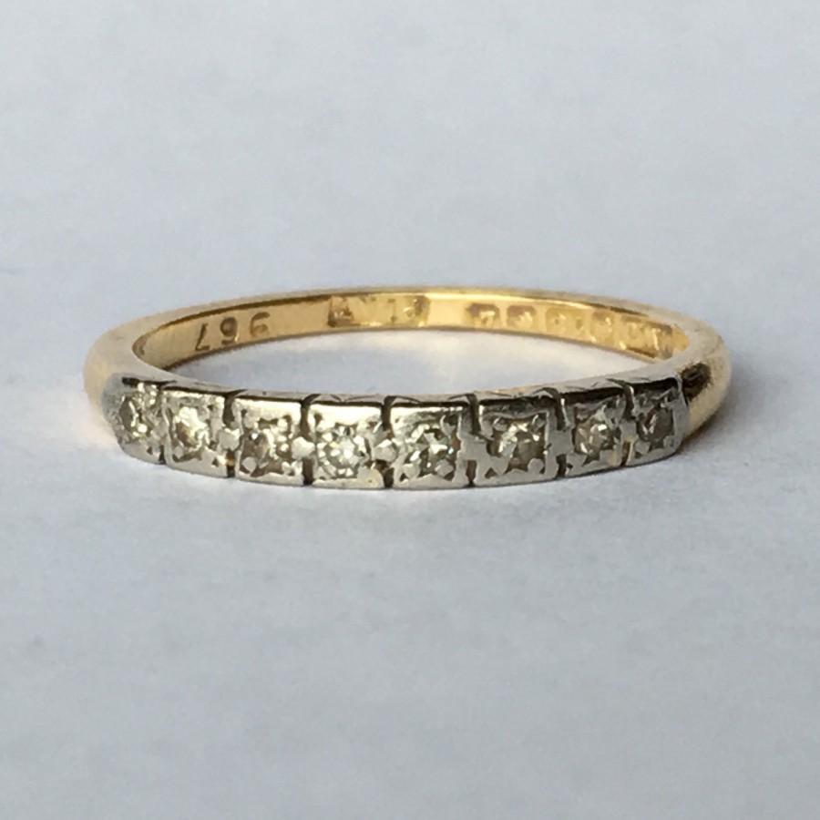 Vintage Diamond Wedding Band. 18K Yellow Gold. April Birthstone ...