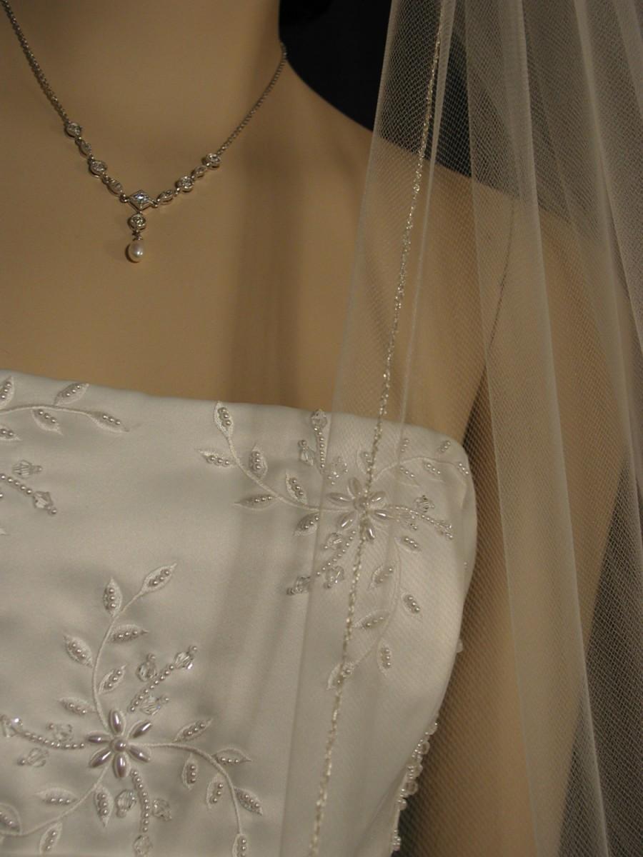 """Hochzeit - Wedding veil. Silver pencil edging. 42"""" fingertip length."""