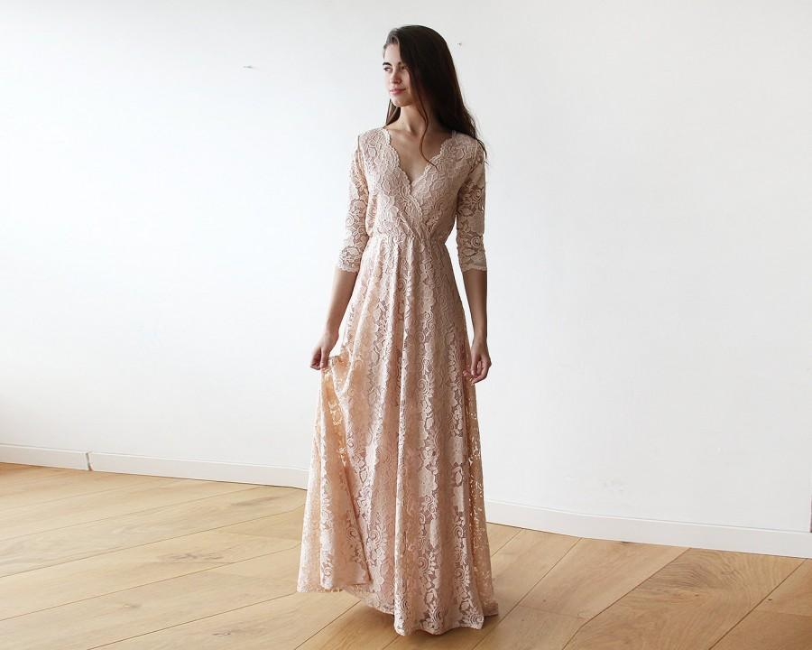 Hochzeit - Pink blush long sleeves lace gown, Lace pink gown 1124