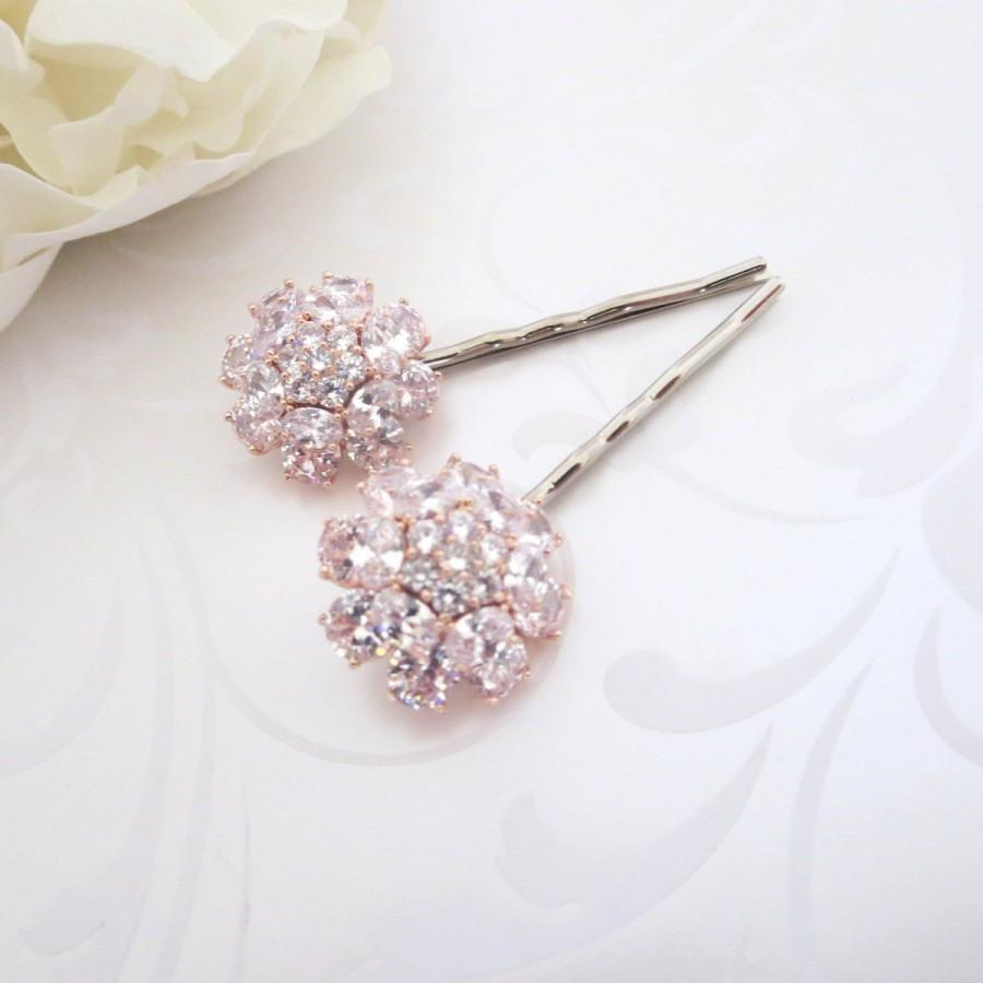 Rose gold wedding hair accessories - Rose Gold Hair Pins Cz Hair Pins Bridal Hair Pins Bridal Hair Comb Wedding Headpiece Crystal Pins Bobby Pins Hair Accessories