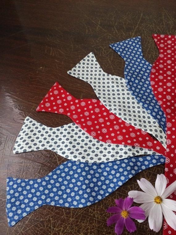 Wedding - Self tie bow ties Set of 3 bowties Red bow tie Blue floral men's bowtie White kids necktie Wedding groomsmen red ties Gift for uncles lkiowe
