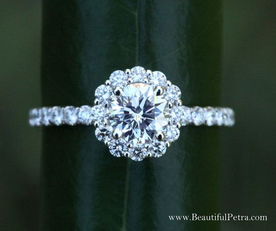 Diamond Engagement Ring 14K White Gold 140 Carat Round