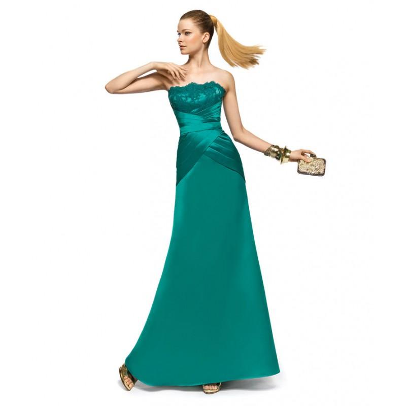 Wedding - Charming A-line Strapless Lace Ruching Floor-length Satin Cocktail Dresses - Dressesular.com