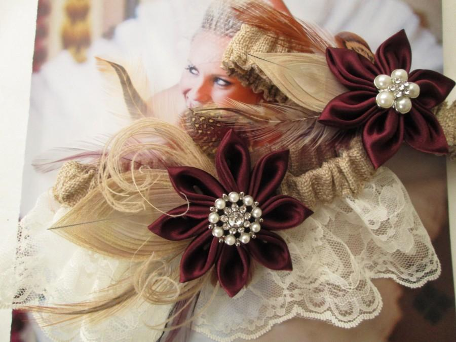 Свадьба - Marsala Burlap Wedding Garter Set, Maroon / Wine / Cranberry Red Garters, Ivory Lace Garter, Rustic / Boho / Country Bride