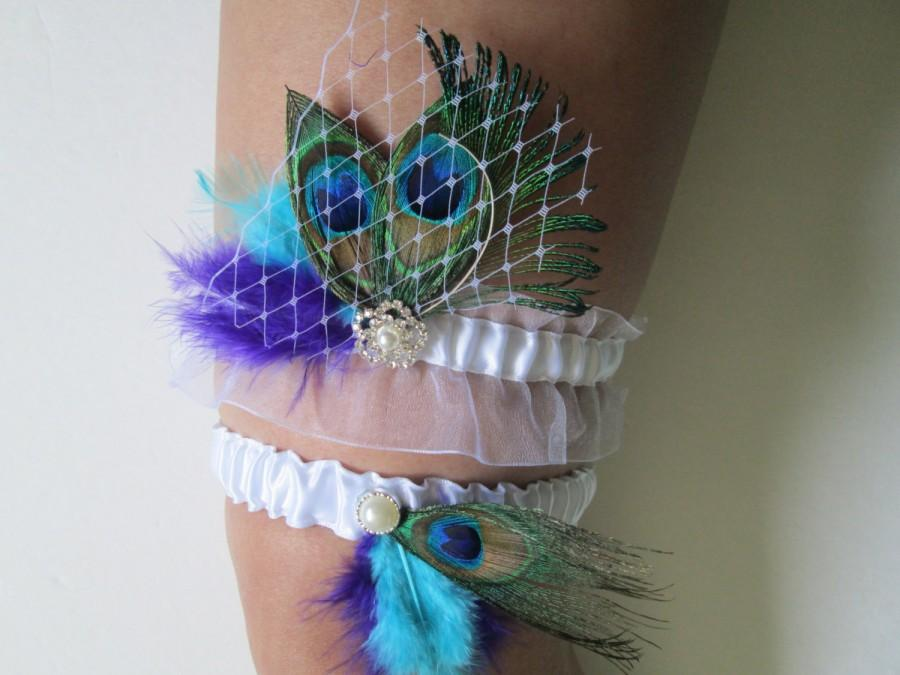 Свадьба - Purple & Turquoise Wedding Garter Set, Peacock Garters, White Bridal Garters with Birdcage Lace Veil, Teal and Purple Wedding