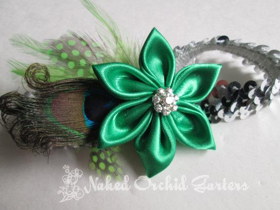Свадьба - Kelly Green Wedding Garter, PLUS SIZE, Peacock Bridal Garter, Apple Green, Emerald, Lime & Silver PROM Garter, St Pattys Day Irish Bride