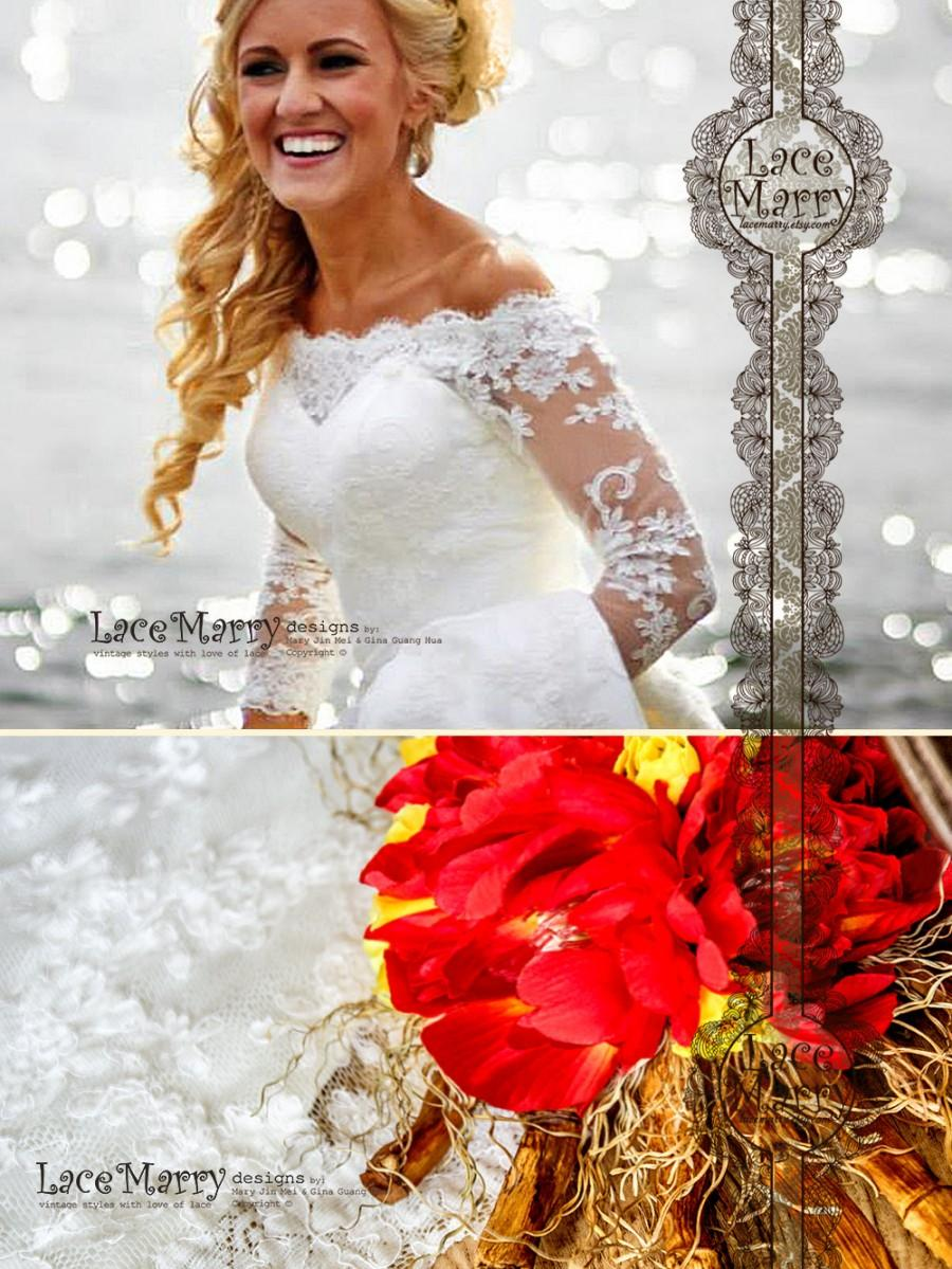 Fit and flare lace wedding dress long train