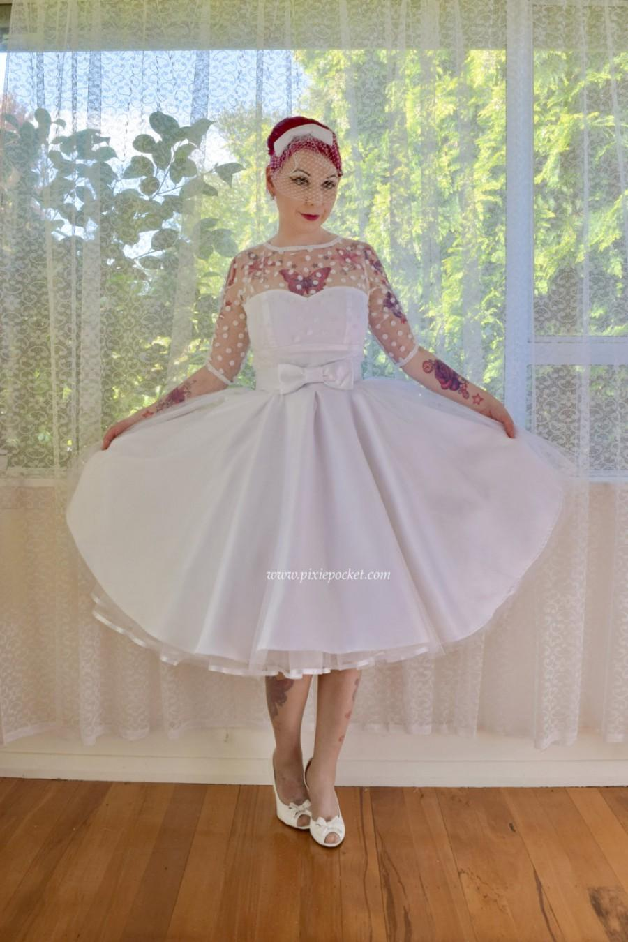 """Wedding - 1950's """"Anita"""" Polka Dot Wedding Dress with Sweetheart Neckline, Tulle Extra Full Circle Skirt and Petticoat - Custom made to fit"""