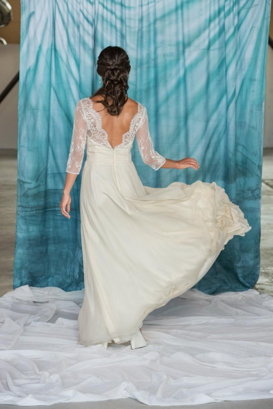Wedding - Chelsea - Lace Wedding Dress Silk, lace and chiffon wedding dress, Sweetheart Wedding Dress,Illusion neckline, Slit skirt boho bridal gown