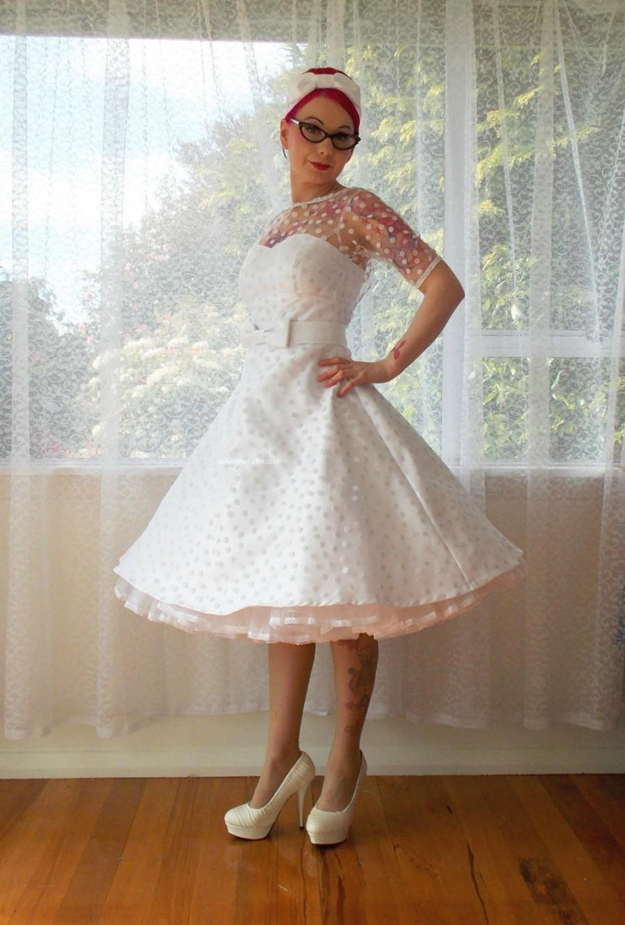 "Wedding - 1950's ""Annette"" Polka Dot Wedding Dress with Sweetheart Neckline, Tea Length Skirt and Petticoat - Custom made to fit"