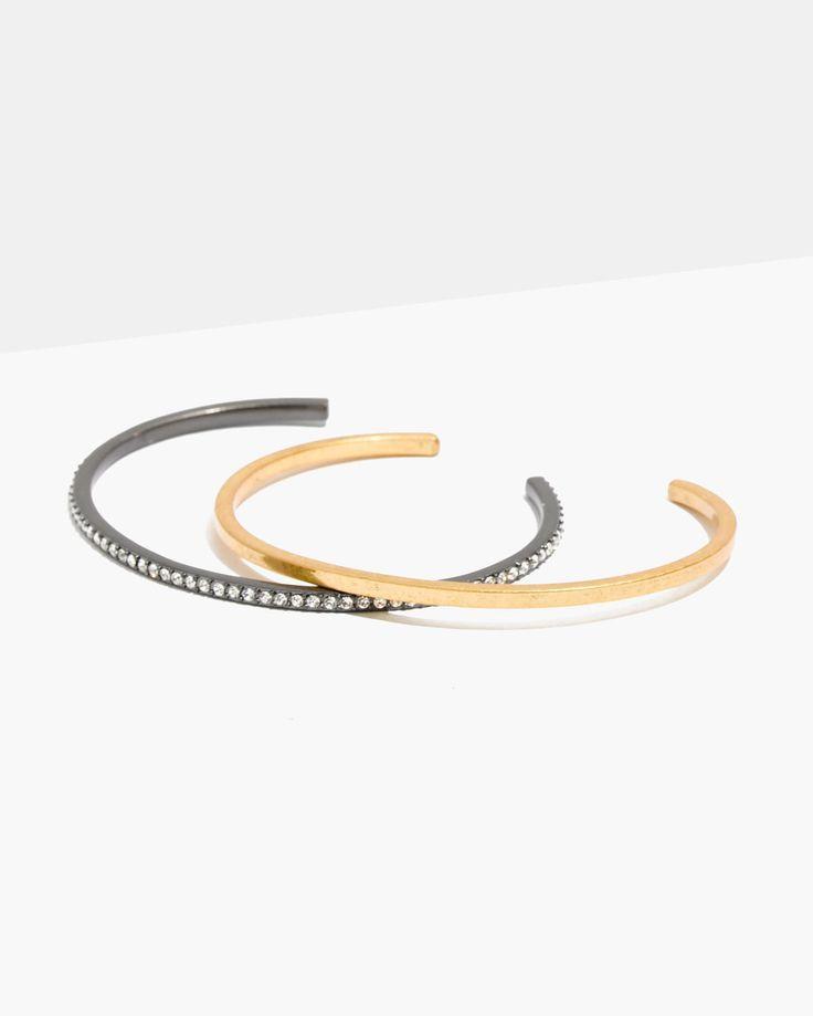 Hochzeit - Pavé Cuff Bracelet Set