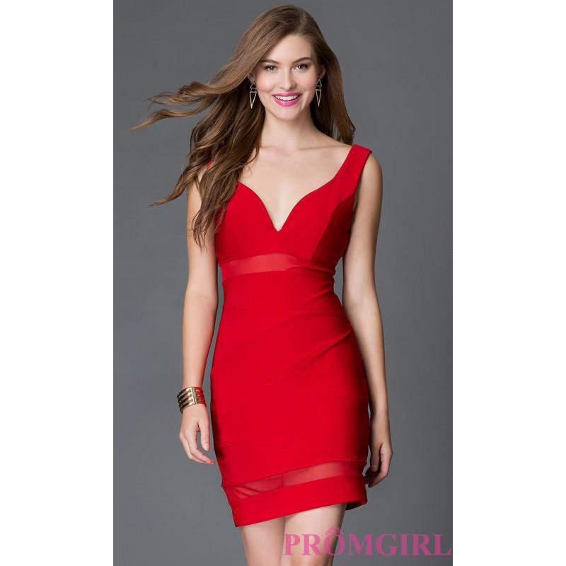 Short Red Open Back Holiday Party Dress With Sheer Panels Discount
