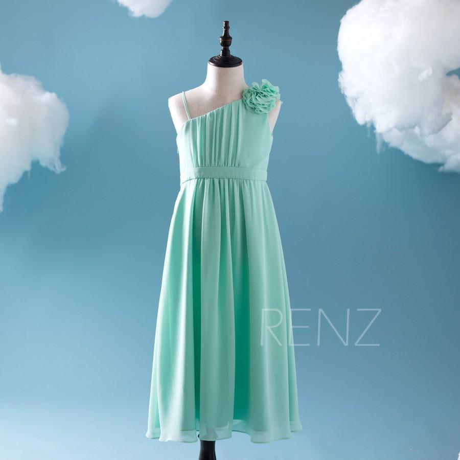 2016 Mint Junior Bridesmaid Dress, One Shoulder Spaghetti Strap ...