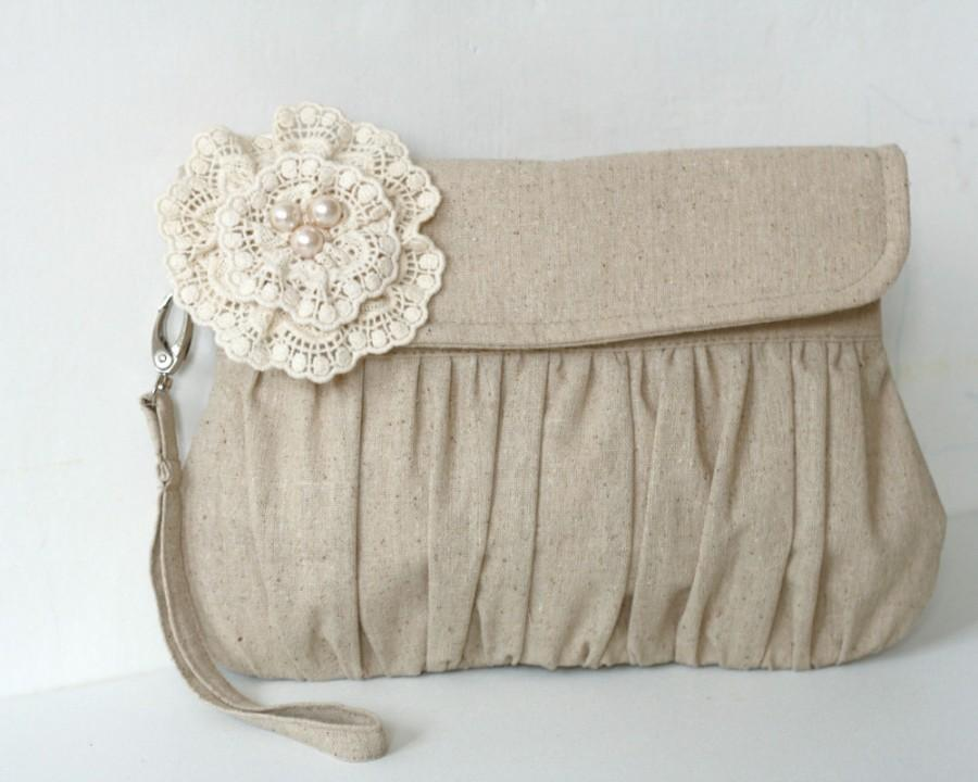 Hochzeit - Rustic wedding clutch - wedding clutch - bridesmaid clutches - linen and lace
