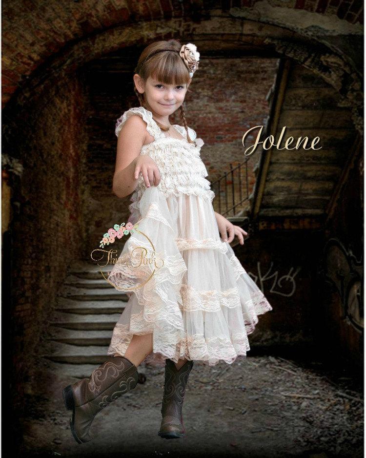 Mariage - Flower girl dress, Rustic Flower Girl dress, Lace flower girl dress,country flower girl, Champagne Lace flower girl dress, Ivory lace dress.