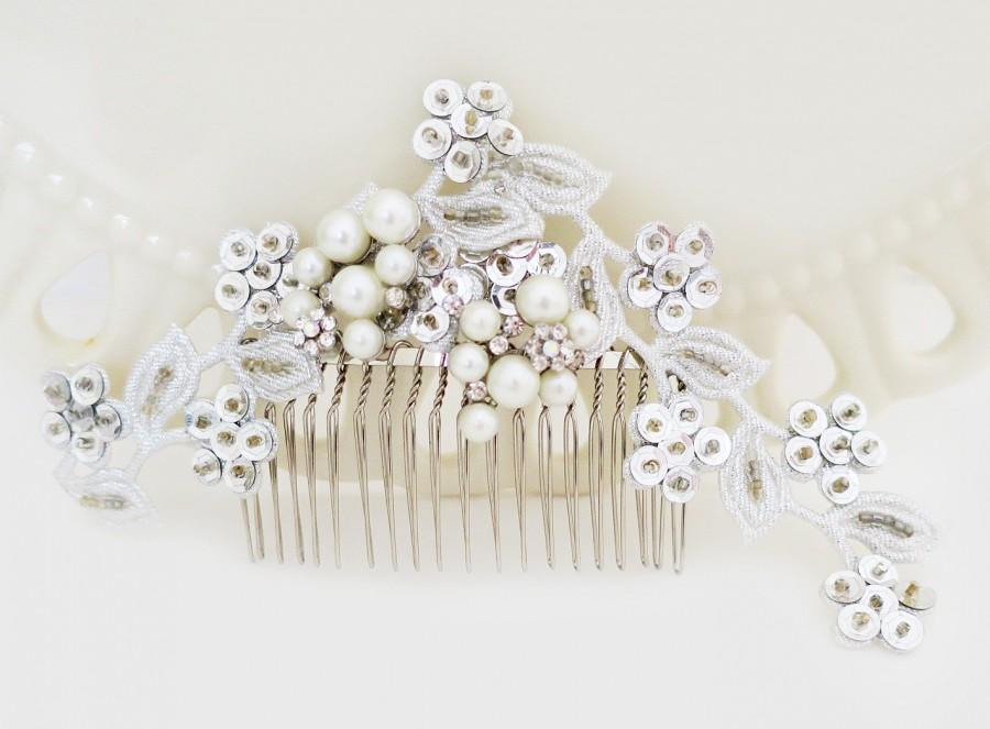 Mariage - Wedding Silver Lace Headpiece, Bridal Comb with lace sequin, Pearl Wedding Comb, Bridal Hair Comb Pearl Large Hairpiece, Ivory Pearl, KATIA