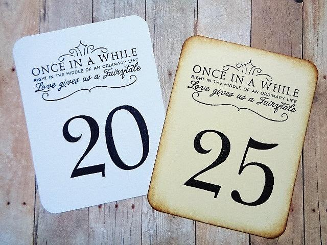Hochzeit - Fairytale Wedding Table Numbers Vintage Style or Black and White