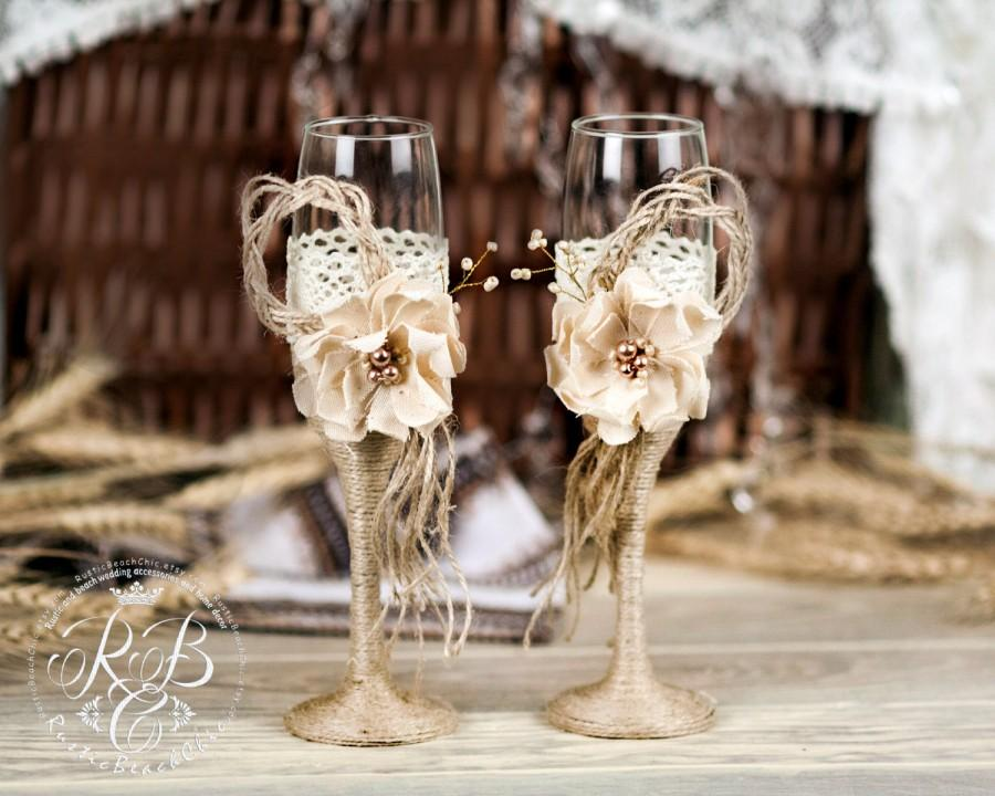 Свадьба - IVORY Rustic Chic Wedding glasses with rope, lace, pearl handmade flower /ivory gray burlap, vintage inspiration