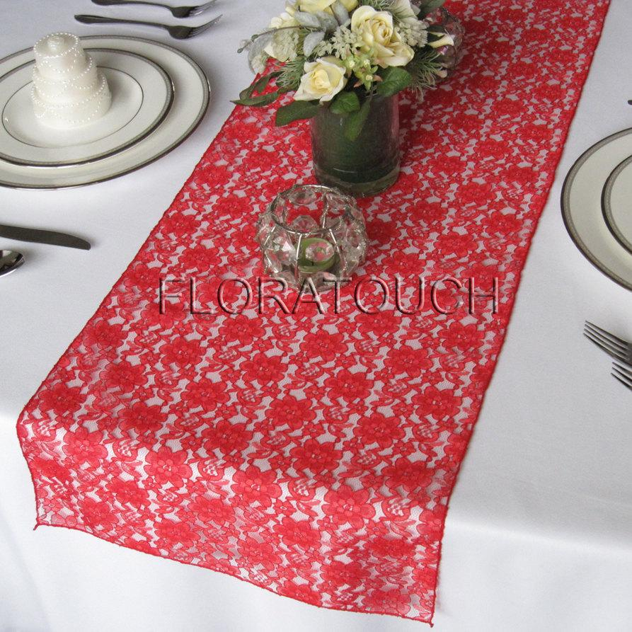 Mariage - Lace Wedding Table Runner - Red