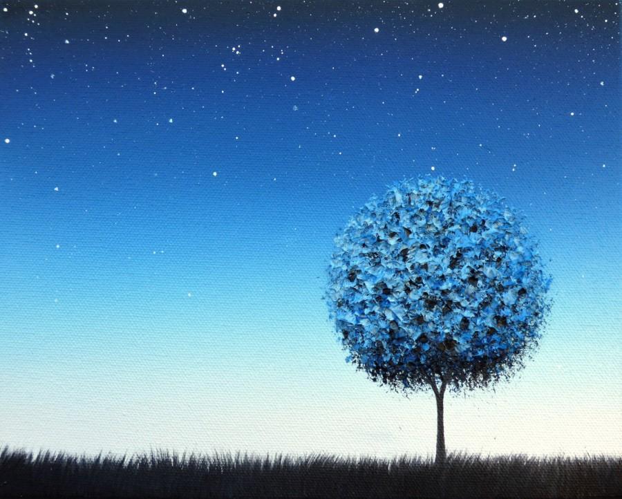 Blue Night Landscape Painting, Starry Night Sky At Twilight