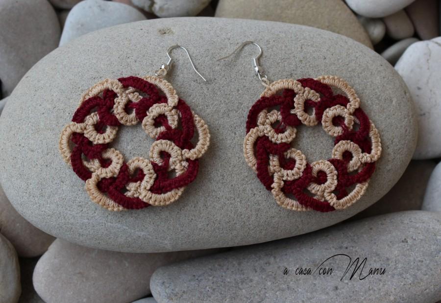 Mariage - Orecchini al pizzo chiacchierino, tatting earrings, orecchini pendenti, bijoux, idea regalo, bijoux, per lei, handmade, made in Italy