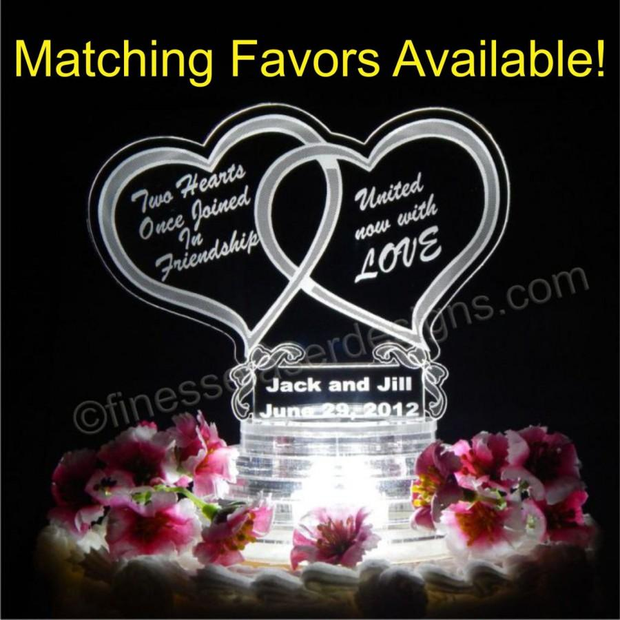 Mariage - Double Heart Shaped Lighted Wedding Cake Topper Acrylic Top Custom Engraved