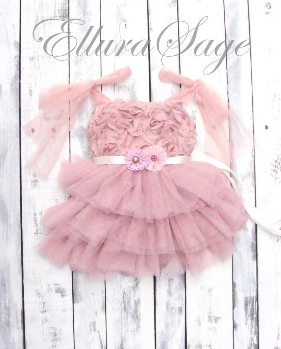 Flower Girl Dress Dusty Rose Toddler Girls Dress Vintage Pink