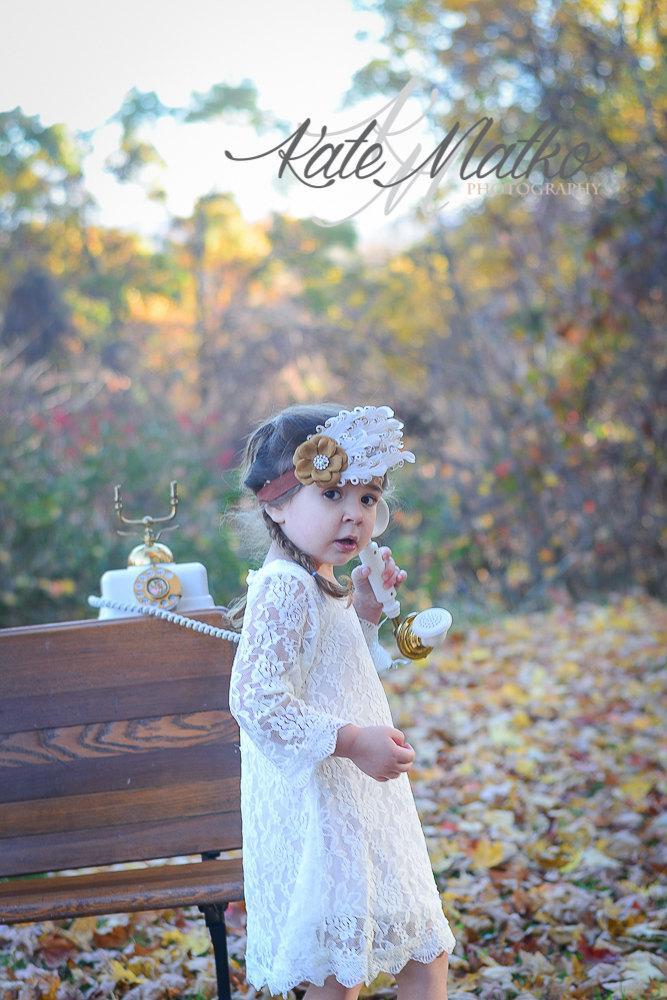 Wedding - Arabella- Ivory, White Lace Dress, Flower Girl Dress, Girls Dress,Toddler Dress, Baby Dress, Baptism Dress