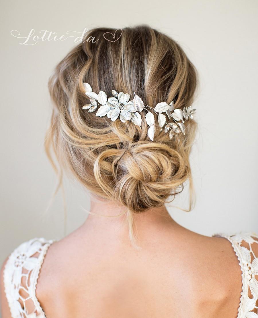 زفاف - Silver or Gold Hair Halo Hair Vine, Grecian Hair Wreath, Boho Gold Silver Flower headband, Wedding Hair Vine  - 'APRIL'